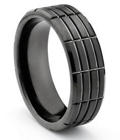 Black Tungsten Carbide Mens Wedding Bands