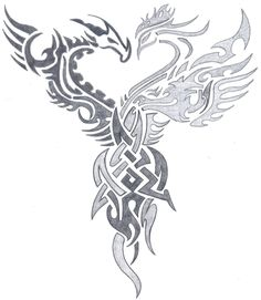 dragon vs phoenix tribal by on DeviantArt- dragon vs phoenix tri… – Phoenix tattoo Tribal Tattoo Designs, Tribal Drawings, Dragon Tattoo Designs, Tribal Art, Tattoo Drawings, Kunst Tattoos, Neue Tattoos, Tattoos Skull, Body Art Tattoos