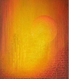 Lysets vei 70x60 cm. Akryl på 3D-lerret.  Bildet går i fargene:  Vanilje, sitron-gul, gul, oker, gul-orange, orange, rød-orange, burgunder, bordeaux.  For å se detaljer eller strukturer osv. i maleriet, kan du klikke opp bildet og bevege musepekeren over bildet.