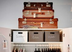 """<p>Give your closet a vacation from clutter by socking out-of-season garments in spare suitcases. Stacked on top or at the foot of an already full closet, old and lightweight luggage not only offers shelter to hibernating winter wear, but can also add <a href=""""http://www.bobvila.com/slideshow/12-ideas-to-steal-from-vintage-kitchens-49523"""">vintage appeal</a> to a once drab interior.</p><br><p><strong>Related: <a…"""