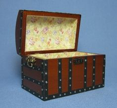Dollhouse Miniature Victorian Wooden Trunk Furniture | eBay
