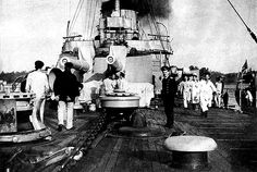 Rurik II prepares to weigh anchor! This is a view of the Foredeck in port during operations -- summer 1916.