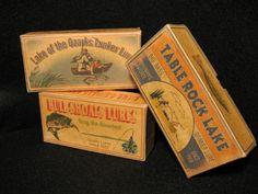 Table Rock Lake, Lake of the Ozarks, Bull Shoals Missouri fishing lure cabin boxes decor. $18.50, via Etsy.