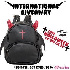 To celebrate Halloween, we're giving away a Devil Backpack to 2 lucky winners   1. Follow @spreepicky 2. Like and Repin this pic  3. Finish above and enter here:  https://goo.gl/yMrquC 4.Ends on Oct 23rd .2016  During this period ,Use code: Halloween to enjoy 15$ off 90$   Good luck everyone <33