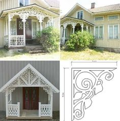 Snickarglädje Cottage Porch, Cozy Cottage, Porch Trim, Norway Design, Pergola, Scandinavian Style Home, Porch Addition, Exterior Trim, Decks And Porches