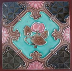 Vintage Art Nouveau Ceramic Tile