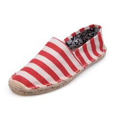 Womens Red Zebra Stripes Flax Outsole Toms Shoes
