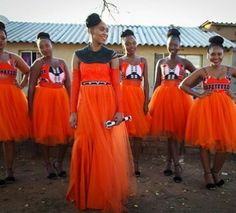 Orange tulle plus Ankara wedding petfection2