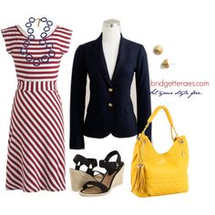 The navy blazer....DON'T LIKE the shoes or purse, but the rest is cute