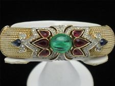 Beautiful Designer CROWN TRIFARI Philippe Vintage Jewels of India Rhinestone Cabochon Bracelet Gifts for Her