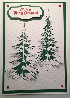 CBY Handmade - Christmas greeting card using Tim Holtz pine tree die cuts.
