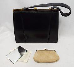 Excellent Maclaren Black Genuine Leather Clasp Handbag Mirror Purse 87 B90 Ebay