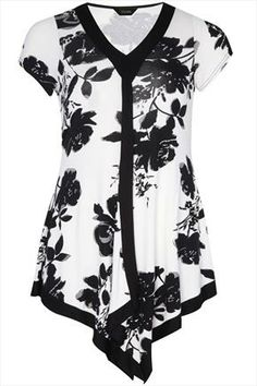 Black+And+White+Floral+Print+Longline+Top+With+Draping+48532
