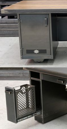 Steel Vintage industrial desks come with a wide range of unique and stylish storage options to keep your workspace neat and tidy