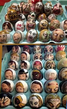 The Walking Dead Easter eggs! Walking Dead Funny, Fear The Walking Dead, Walking Dead Easter Eggs, Merle Dixon, Dead Zombie, Stuff And Thangs, Carl Grimes, Daryl Dixon, Happy Easter