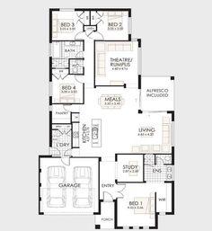 Planos de casas con 3 dormitorios y dos ba os de una for Disenos de casas de una planta