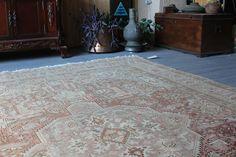 "78""x11 ft Vintage Rug, Large Area Rug, Vintage Ladik Rug, Pink-Beige Large Rug, Handwoven Wool Rug, Vintage Medallion Rug"