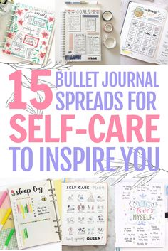 Self-care bullet journal ideas - Looking for some inspiration for your bullet journal? Why not dedicated a section for self-care? Here are the best self-care bullet journal spreads that we hope could inspire you! #bujo #selfcare #spreads #planner Monthly Bullet Journal Layout, Self Care Bullet Journal, Bullet Journal Spread, Bullet Journals, Bujo Weekly Spread, Planner Dashboard, Mini Happy Planner, Planner Layout, Self Compassion
