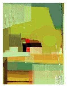 Green and Brown Abstract 5 Art Print by NaxArt at Art.com