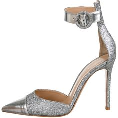 Gianvito Rossi Glittered Pointed-Toe Pumps ($345) ❤ liked on Polyvore featuring shoes, pumps, silver, pointed toe shoes, gianvito rossi, pointy toe shoes, glitter shoes and silver metallic shoes
