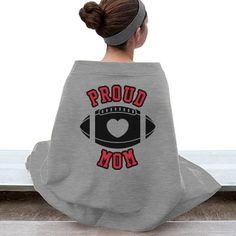 Proud Football Mom | This Proud Football Mom Stadium Blanket will keep you warm in stands! Customize with your team's colors or logo.