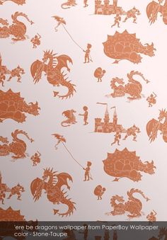 'ere be dragons wallpaper from PaperBoy Wallpaper in Stone-Taupe