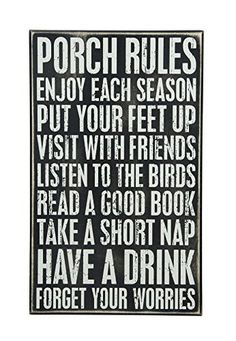 ideas for rustic outdoor furniture patio tables front porches Porch Rules Sign, Porch Signs, Patio Signs, Distressed Furniture, Retro Furniture, Kitchen Furniture, Antique Furniture, Furniture Ideas, Pallet Furniture