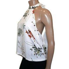 Dynamite Floral Halter Top Womens Size Medium White Low Back Sleeveless Blouse #Dynamite #Basic #PartyCocktail Sleeveless Blouse, Camisole Top, Blouses, Tank Tops, Medium, Floral, Shirts, Women, Fashion