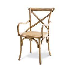 Cadeira cross c/ braço assento em palha - 0,90x0,56x0,58 cm