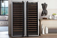 Made in France, Transtherm wine cabinets are made by the same manufacturer but are more affordable than the wine storage cabinets sold by The Wine Enthusiast. Wine Cabinet Furniture, Wine Storage Cabinets, Wine Cellar Design, Wine Education, Solid Doors, Wine Collection, Wine Rack, Locker Storage, Bottle