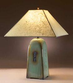 Celadon Lamp with Lokta Shade by Jim Webb - 22 Lamp with Natural Lokta Shade (Ceramic Lamp) Ceramic Light, Ceramic Lamps, Teapots Unique, Large Lamps, Table Lamp Wood, Bedside Lamp, Lamp Bases, Lamp Light, Jim Webb