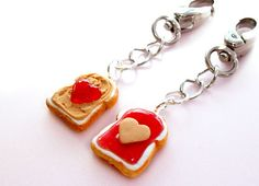 Peanut Butter and Jelly Purse Charms - Bag Charms - Best Friends BFF - Kawaii Cute Polymer Clay Food