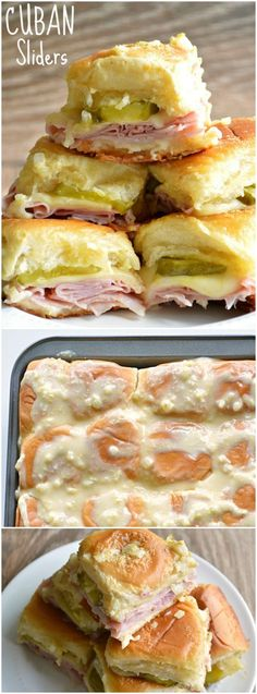 These delicious little Cuban Sliders are loaded with ham, swiss cheese, dill pickles, and then topped with a dijon mustard onion spread!