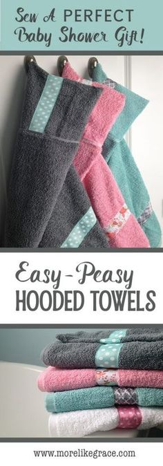 A tutorial for an easy DIY hooded towel. | Easy Sewing Project | DIY Hooded Towel | Baby Shower Gifts| DIY Sewing Project | Hooded Baby Towel | Hooded Towel Tutorial | Hooded Towel How-To | New Baby Gifts | Beginner Sewing | #easysewing | #crafts