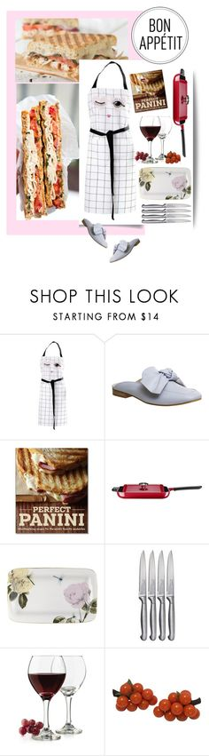 """Bon Appetit"" by ladygroovenyc ❤ liked on Polyvore featuring Miss Etoile, Williams-Sonoma, KitchenAid, Ted Baker, Oneida, Libbey, mules and apron"
