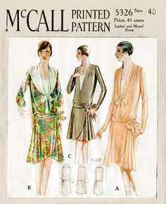 1920s 20s vintage sewing pattern flapper day dress McCall 5326 tie collar bust 34 b34 reproduction