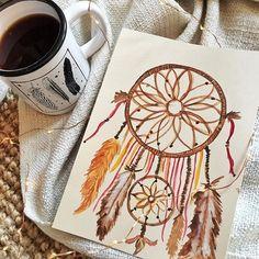✨Monday mood ☁️ J'ai finalement tenu ma résolution de peindre ce week-end... Bon courage pour la reprise  #dreamcatcher #dreams #feather #watercolor #aquarelle #aquarellepainting #moodoftheday #cocooning