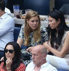 (top-left) Princess Beatrice of York, Bruce Willis (front-right) and his wife Emma Heming (front-left) attend the men's semifinals at Arthur Ashe Stadium on day 12 of the 2016 US Open at USTA Billie Jean King National Tennis Center on September 9, 2016 in the Queens borough of New York City.
