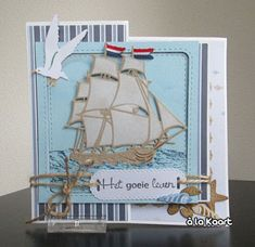 Handmade card by DT member Anita with Creatables Tiny's Tall Shiip (LR0416), Craftables Basic Passe Partouts Square (CR1359), Tiny's Ocean Set (CR1279), Punch Die - Sea Shell (CR1363) and Clear Stamp Tiny's Border - Surf (TC0838) from Marianne Design