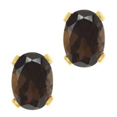 2.40 Ct Oval Shape Brown Smoky Quartz Yellow Gold Plated Silver Stud Earrings Gem Stone King. $19.99. 8X6MM. 2.40 Ct. Smoky Quartz. Save 75% Off!