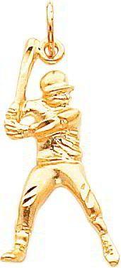 Amazon.com: 10K Gold Up To Bat Baseball Player Charm Sports Pendant: Jewelry