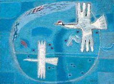 (Korea) Whanki Kim (김환기 1913~1974), Two Birds (새), Korean artist