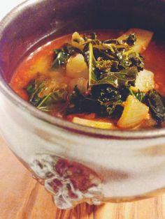 """Portuguese Chorizo, Kale, & Potato Soup // the sparkle kitchen. My """"Portugie Maria"""" makes this stuff. SO GOOD!!"""