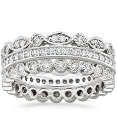 18K White Gold Luxe Antique Eternity Diamond Ring Stack (1 ct. tw.) from Brilliant Earth