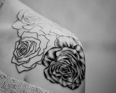 Black and White Linear Shoulder Rose Tattoo