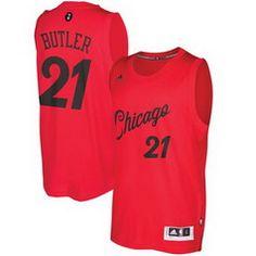 fd9fcc7ce65 NBA Chicago Bulls  21 Jimmy Butler Red 2016-2017 Christmas Day Swingman  Jersey Ice