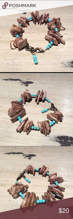 Wood hip and turquoise bracelet Bold chunky wood chip and turquoise bracelet. handmade Jewelry Bracelets