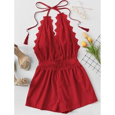 Shop Lace Trim Open Back Halter Romper online. SheIn offers Lace Trim Open Back . - Shop Lace Trim Open Back Halter Romper online. SheIn offers Lace Trim Open Back Halter Romper & more to fit your fashionable needs. Source by - Cute Summer Outfits, Trendy Outfits, Casual Summer, Teen Fashion, Fashion Outfits, Fashion Black, Fashion Styles, Womens Fashion, Fashion Ideas