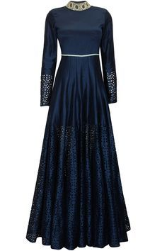 Midnight blue pleated anarkali with embridered collar by SVA. Shop now: http://www.perniaspopupshop.com/designers/sva #anarkali #sva #shopnow #perniaspopupshop