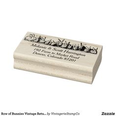 Row of Bunnies Vintage Return Address Stamp